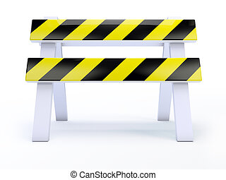 3d Front view road block - 3d render of a roadblock on white...