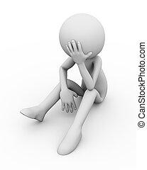 3d frustrated sad business man