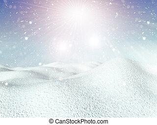 3d, fundo, nevado