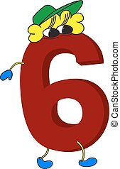 3D funny animated red number 6