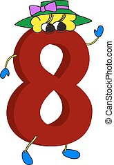 3D funny animated red number 8