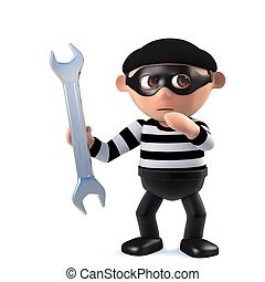 3d Funny burglar character holding a spanner - 3d render of...