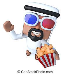 3d Funny cartoon Arab sheik character eating popcorn at the movies