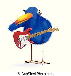 3d Funny cartoon blue bird character playing electric guitar