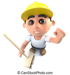 3d Funny cartoon builder construction worker character cleaning with a broom