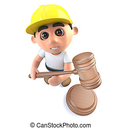 3d Funny cartoon builder construction worker character holding an auction