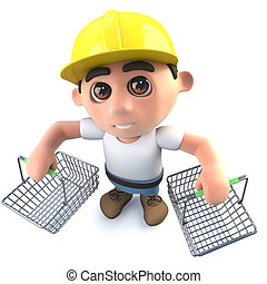 3d Funny cartoon builder construction worker character holding shopping baskets