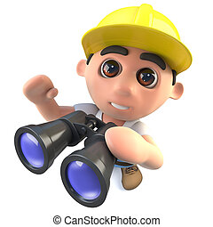 3d Funny cartoon builder construction worker character with a pair of binoculars