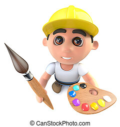 3d Funny cartoon builder construction worker holding a paint brush and palette