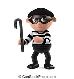 3d Funny cartoon burglar character with a crowbar