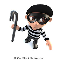 3d Funny cartoon burglar thief character holding a crowbar