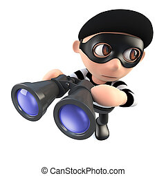3d Funny cartoon burglar thief character holding a pair of binoculars