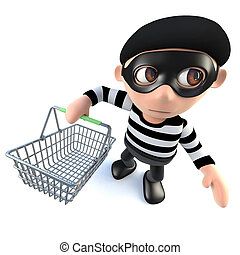 3d Funny cartoon burglar thief character holding a shopping basket