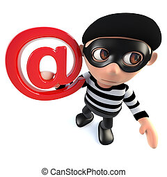 3d Funny cartoon burglar thief character holding an email address symbol