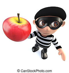 3d Funny cartoon burglar thief holding an apple