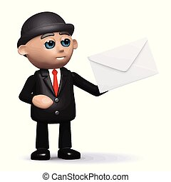 3d Funny cartoon businessman character holding an envelope