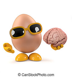 3d Funny cartoon chickens egg character holding a human...