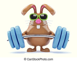 3d Funny cartoon chocolate Easter Bunny weightlifter