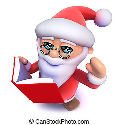 3d Funny cartoon Christmas Santa Claus reading a book