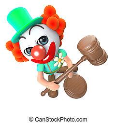 3d Funny cartoon clown character holding an auction