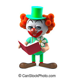 3d Funny cartoon clown character reading a book