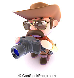 3d Funny cartoon cowboy sheriff taking a picture with a camera