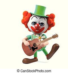 3d Funny cartoon crazy clown character plays his acoustic guitar