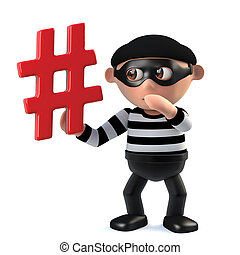 3d Funny cartoon criminal burglar character has a hashtag symbol