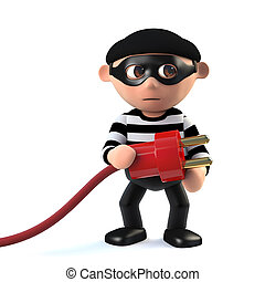 3d Funny cartoon criminal burglar character holding a power lead