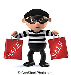 3d Funny cartoon criminal burglar character holding two sale...