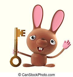 3d Funny cartoon Easter bunny rabbit character has a gold key