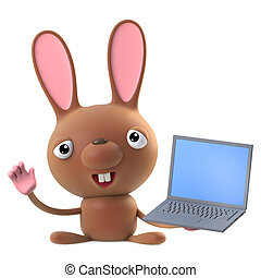 3d Funny cartoon Easter bunny rabbit character has a laptop pc