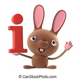 3d Funny cartoon Easter bunny rabbit character has information