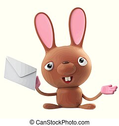 3d Funny cartoon Easter bunny rabbit character has mail