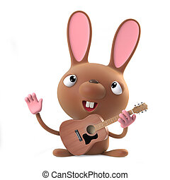 3d Funny cartoon Easter bunny rabbit plays acoustic guitar