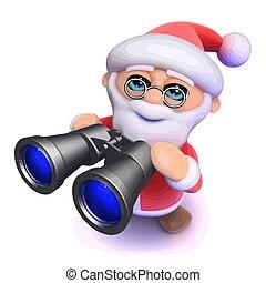 3d Funny cartoon Father Christmas looking through binoculars