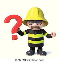 3d Funny cartoon fireman character holding a question mark