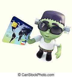 3d Funny cartoon frankenstein monster character holding a...