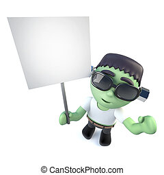 3d Funny cartoon frankenstein monster character holding a placard