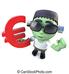 3d Funny cartoon frankenstein monster holding a Euro currency symbol