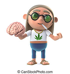 3d Funny cartoon hippie stoner character holds a human brain...
