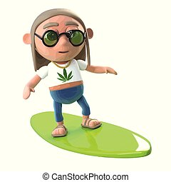 3d Funny cartoon hippie stoner character goes surfing on a...