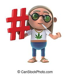 3d Funny cartoon hippie stoner character holding a hash tag...