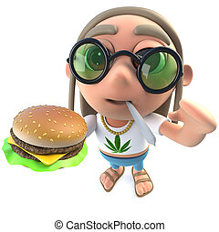 3d Funny cartoon hippy stoner character eating a cheese...