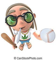 3d Funny cartoon hippy stoner character holding a baseball...