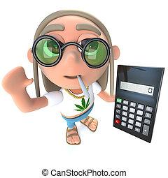 3d Funny cartoon hippy stoner character holding a calculator...
