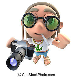 3d Funny cartoon hippy stoner character holding a camera -...
