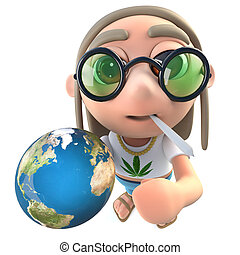3d Funny cartoon hippy stoner character holding a globe of...
