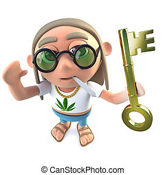 3d Funny cartoon hippy stoner character holding a gold key...