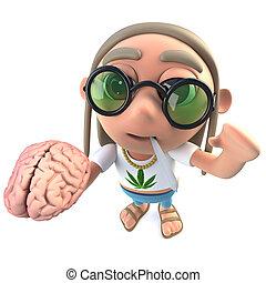 3d Funny cartoon hippy stoner character holding a human...